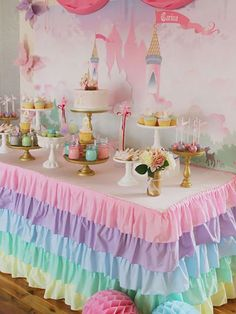 name on banner backdrop - Pastel Princess Party with So Many Darling Ideas via Kara's Party Ideas Disney Princess Birthday Party, Princess Theme Party, Princess Party Decorations, Cake Decorations, Pastel Party Decorations, Cinderella Party, Princess Disney, Disney Disney, Disney Food