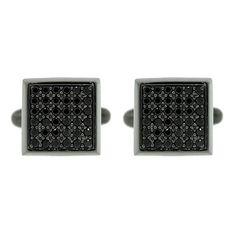 Blackened Silver Large Cuadrado Cufflinks Black Diamonds