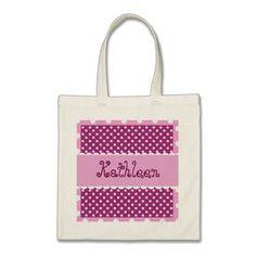 Hue of Pink Polka Dots Bride or Bridesmaid V31 Canvas Bag  To see more Jaclinart customizable totes visit http://www.zazzle.com/jaclinart/gifts?cg=196427799858145824  #monogram #tote #wedding #jaclinart #bridesmaid