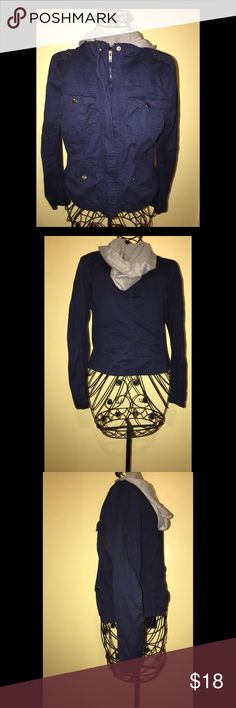 Utility Jacket with hoodie This jacket can be worn with jeans or leggings to have a trendy casual look. The size says L but it is more of a S/M feel. Charlotte Russe Jackets & Coats Utility Jackets