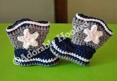 Baby Dallas Cowboy Boots, Baby Booties, Crochet Booties, Dallas Cowboys, Baby Football, MADE TO ORDER, Newborn to 12 Months. $22.00, via Etsy.