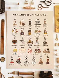 Wes Anderson Alphabet Poster 16x20 - moonrise kingdom grand budapest royal tenenbaums isle of dogs darjeeling fantastic mr fox movie art by AbbieIllustrations on Etsy https://www.etsy.com/listing/525776636/wes-anderson-alphabet-poster-16x20