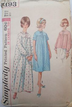 Women's Vintage Sewing Pattern  Nightgown in Two by Shelleyville, $5.00