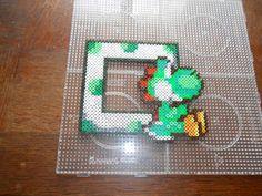 Yoshi Mario photo frame hama perler beads by  hardy8676