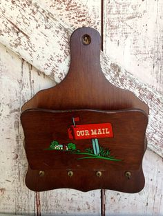 Vintage  Wooden mail rack, Letter Rack, key holder or Wall Cubby on Etsy, $16.00