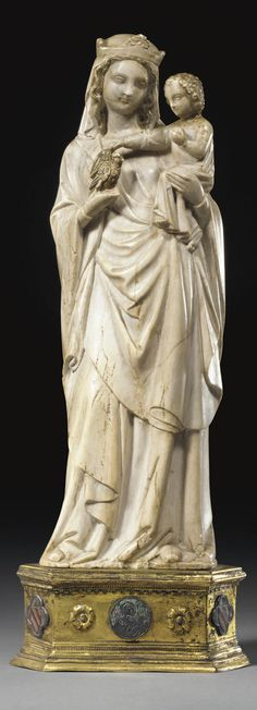 VIRGIN AND CHILD  (CARVED MARBLE GROUP, FRENCH, 14TH CENTURY STYLE)