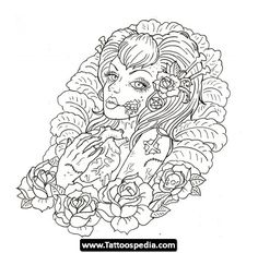 adult coloring page tattoos adult coloring pages adult coloring pages Skull Coloring Pages, Printable Adult Coloring Pages, Coloring Pages For Girls, Animal Coloring Pages, Coloring Book Pages, Mandalas Painting, Mandalas Drawing, Zombie Girl Tattoos, Image Zen