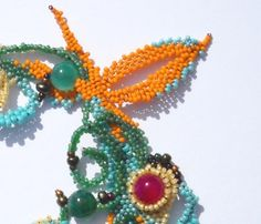 Beaded necklace  bracelet freeform peyote by Calliphorabeads