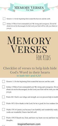 Memory Verses for Kids - Inspire the Mom Memory Verses For Kids, Scriptures For Kids, Bible Study For Kids, Bible Lessons For Kids, Kids Bible, Scripture Memorization, Scripture Verses, Healing Scriptures, In The Beginning God