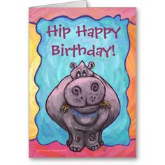 Hippopotamus Party Center Cute Greeting Cards
