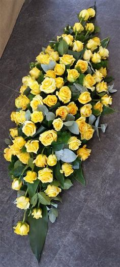 Yellow Rose Coffin Top Arrangement