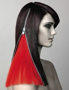 hair art style - via @Kenny Milano. This looks cool but not sure people can do that in real life with their hair. Black hair, zipper parting revealing bright red hair.