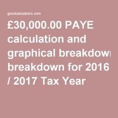 £30,000.00 PAYE calculation and graphical breakdown for 2016 / 2017 Tax Year