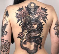 dragon and flowers back piece tattoo by in fitzroy, australia Third Eye Tattoos, Back Tattoos, Back Piece Tattoo, Dragons, Feels, Australia, Big, Instagram, Flowers