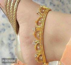 Attractive Designer Meena Crystal Anklets by Lavisha Fashion - Online shopping for Anklets & Toe Rings on MyShopPrime - Gold Anklet, Beaded Anklets, Women's Anklets, Ankle Jewelry, Ankle Bracelets, Dainty Jewelry, Gold Jewellery, Anklet Designs, Necklace Designs