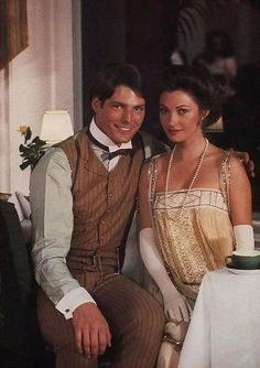 """Christopher Reeve & Jane Seymour """"Somewhere in Time"""" movie costumes. Hooray For Hollywood, Hollywood Stars, Classic Hollywood, Old Hollywood, Christopher Reeve, Jane Seymour, Dc Movies, Great Movies, Love Movie"""