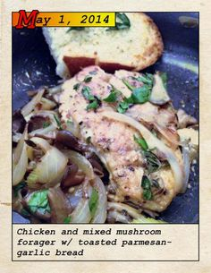 Blue Apron chicken mushrooms parmesan garlic bread