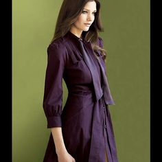 "🎉HP Anthropologie Leifsdottir Plum Perfect Trench 🎉 Host Pick Style Icon Party 10/19  and Girly Girl Party 2/20 🎉 Excellent Used Condition. Size 4. No defects or imperfections. Worn only once. Anthro describes this beautiful 3/4 sleeve eggplant colored trench as: Its pleated flaps are lined with swallow-printed cotton, and its neckties are wide swaths of silk. Drawstring waist  Button closure  Front pockets  Cotton, spandex; acetate lining  Dry clean  39""L Anthropologie Jackets & Coats"