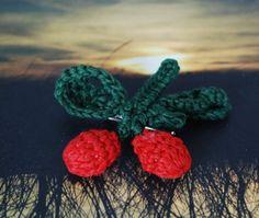 Retro Crocheted Cherry Pin Brooch by funkyou on Etsy