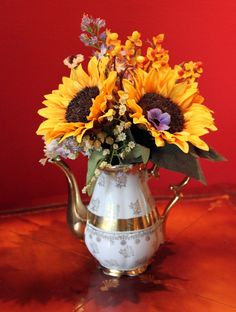 Silk Sunflowers Arrangement in Vintage by AnythingDiscovered, $42.00