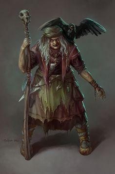 f Sorcerer Witch w crow DrawCrowd
