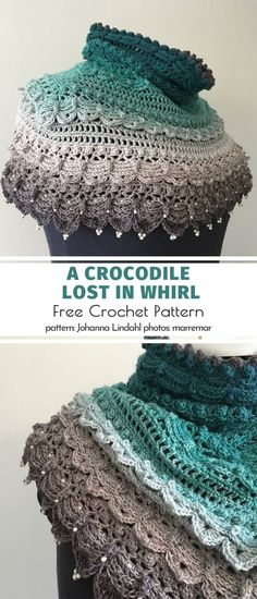 A Crocodile Lost in Whirl Free Crochet Pattern - Lost in Time Shawl. Where do you find inspiration for your projects? This author got creative with - Crochet Shawls And Wraps, Crochet Scarves, Crochet Clothes, Crochet Gratis, Free Crochet, Knit Crochet, Crochet Beanie, Free Knitting, Knitting Patterns