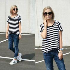 Nena F. - Primark Sunglasses, Mango Striped T Shirt, Zara Jeans, Adidas Superstar Adicolor, Marc By Jacobs Watch - Stripes
