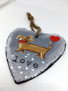 Dachshund Slate Hanger - Gift of Love - Hand Painted - Decoration