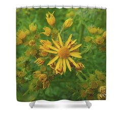 Yellow flower Shower Curtain by Sverre Andreas Fekjan. This shower curtain is made from polyester fabric and includes 12 holes at the top of the curtain for simple hanging. The total dimensions of the shower curtain are wide x tall. Flower Shower Curtain, Shower Curtains, Curtains For Sale, Yellow Flowers, Simple, Fabric, Top, Design, Tejido