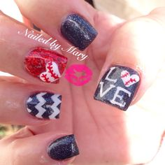 Red black chevron baseball cute nails
