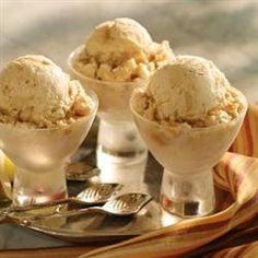 Caramel Apple Ice Cream YUMMY. YOU WILL LOVE THIS DELICIOUS ICE CREAM. YOU DO NOT NEED A ICE CREAM MAKER FOR THIS ONE.  THE APPLE CHUNKS ARE COOKED IN BUTTER WITH APPLE CIDER, AND APPLE PIE SPICES.  THEN BLENDED INTO A RICH ICE CREAM MIXTURE. THEN PUT INTO FREEZER. WAIT, IS THE HARDEST PART. THEN YOU  WILL SEE  SWIRLS OF CARAMEL TOPPING DRIZZLED THROUGHTOUT. HAVE I MADE YOU HUNGRY? I HOPE SO, NO MAKE IT SO THAT IN 4 HRS, YOU CAN SERVE...ENJOY