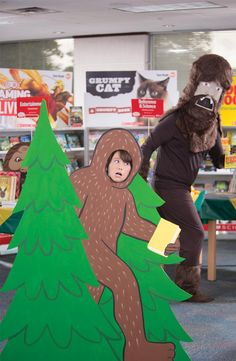 Design a wilderness photo op with evergreen trees, boulders, and a Bigfoot cut-out. Convince a Crew member or faculty person to dress in a Bigfoot costume and photobomb selfies. Find instructions to make a Bigfoot cutout in the Chairperson's Toolkit. Fair Files keyword: BIGFOOT