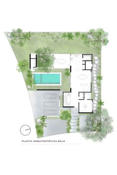 Layouts Casa, House Layouts, Modern House Plans, House Floor Plans, Architectural Plants, Modern Villa Design, Villa Plan, Courtyard House, Architecture Plan