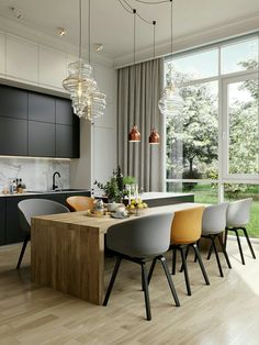A house in Saint Petersburg by Cartelle Design - PLANETE DECO a homes world - A house in Saint Petersburg by Cartelle Design - Interior Design Examples, Interior Design Inspiration, Decor Interior Design, Interior Decorating, Design Ideas, Style Inspiration, Yellow Dining Room, Dining Room Table, Dining Area