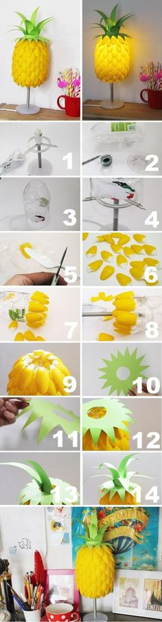 Plastic Spoon Pineapple Lampshade ( http://nowthatspretty.blogspot.com/2013/07/diy-pineapple-lamp.html )