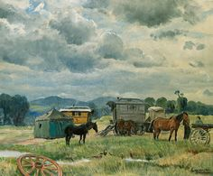 Gypsy Camp, ca 1938, Dame Laura Knight. Many people don't know that the outlier tent, awnings, and tarps are almost ubiquitous with the old caravans.  This allows for a very flexible and expandable living arrangement or a sheltered kitchen area.
