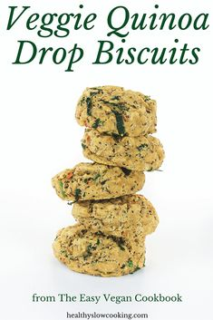 Easy and healthy vegan whole grain drop biscuits with quinoa, carrots and greens!