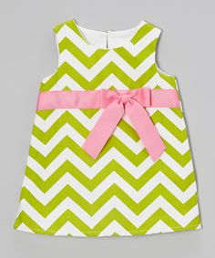 Green & Pink Zigzag Bow Dress - Infant, Toddler & Girls | Daily deals for moms, babies and kids