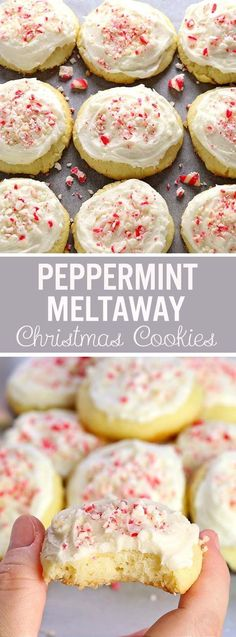 Meltaway Cookies now in a new, special Christmas Edition in a little more festive suit, with a touch of Peppermint Buttercream Frosting and crispy little candy cane crumbs. And YES they DO melt in your mouth. Köstliche Desserts, Holiday Desserts, Holiday Baking, Holiday Recipes, Delicious Desserts, Dessert Recipes, Indian Desserts, Christmas Cookie Recipes, Awesome Desserts