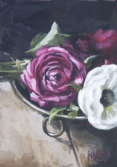 A Plate of Flowers- Maria Magdalena Oosthuizen Artwork