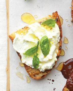 Ricotta with Lemon, Basil, and Honey Bruschetta - Martha Stewart Recipes.I would make this with mascarpone instead of ricotta :) GMA Think Food, I Love Food, Good Food, Yummy Food, Delicious Recipes, Healthy Food, Healthy Eating, Healthy Recipes, Appetizer Recipes