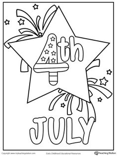 **FREE** 4th July Star Coloring Page Worksheet. 4th of July printable page for coloring and celebrating the birth of the United States.