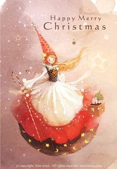 Happy Merry Christmas by Kim Min Ji Happy Merry Christmas, Christmas Fairy, All Things Christmas, Christmas Holidays, Christmas Crafts, Whimsical Christmas, Illustration Noel, Christmas Illustration, Yule