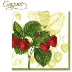 Caspari Paper Napkins 9840C Les Fruits Cocktail Napkins by Caspari Paper Entertaining Products.. $4.95. Les Fruits Rouge - Green Paper Cocktail Napkins. 10 x 10 inches open; 5 sq inches folded.. List Price: $5.94 Price: $4.95 You Save: $0.99 (17%). 20 Paper Cocktail Napkins per package. Caspari Paper Cocktail Napkins. Adapting the elegance of a formal place setting to everyday living using non-toxic, water soluble dyes. Caspari is committed to producing products using envi...