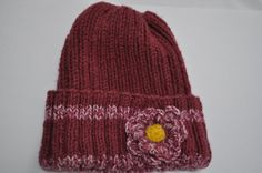 Warm Hand knit hat Crocheted flower attached. Deep by HRStuff, $25.00