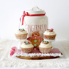 Fake Christmas Cupcakes, Gingerbread Cupcakes, Gingerbread Decor, Faux Sweets, Photo Prop, Holiday Cupcake Prop, Christmas Tray Decor, Bar