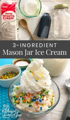 you ever tried Mason jar ice cream? If you haven't indulged in this summer treat you are missing out. This Mason jar idea requires only three ingredients which you likely already have in your kitchen (heavy whipping cream, sugar and vanilla extract). Recipes With Whipping Cream, Heavy Whipping Cream, Ice Cream Recipes, Vanilla Ice Cream Ingredients, Recipe Ingredients, Diy Ice Cream, Homemade Ice Cream, Whipped Cream, Ice Cream Crafts