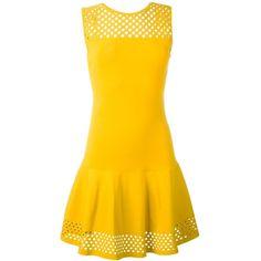 Fendi mesh panel dress ($2,525) ❤ liked on Polyvore featuring dresses, yellow dress, no sleeve dress, round neck dress, back zipper dress and short dresses