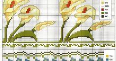 Grande raccolta di schemi e ricami per punto croce gratis, in grande formato, stampabili. Cross Stitch Flowers, Grande, Blog, Towel, Milk, Bath, Punto De Cruz, Calla Lilies, Needlepoint