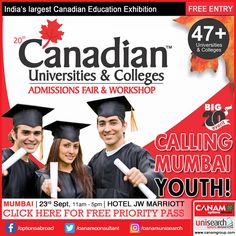 It's time for Mumbai youth to know details of #CanadaEducation opportunities and courses. The best way to do so is to register with exclusive #CanadaEducationFair brought in your city by the experienced team of #CanamConsultants. So if Canada is your dream destination, register now for tomorrow's session! http://www.canadaedufair.com/register.php